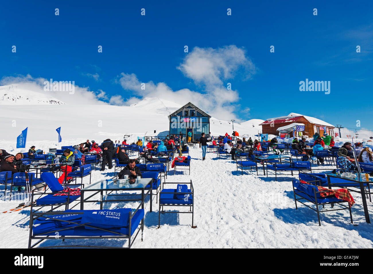 Eurasia, Caucasus region, Georgia, Gudauri ski resort, mountain restaurant - Stock Image