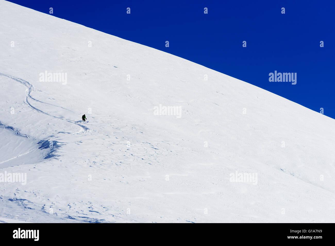 Eurasia, Caucasus region, Georgia, Gudauri ski resort, powder skiing - Stock Image
