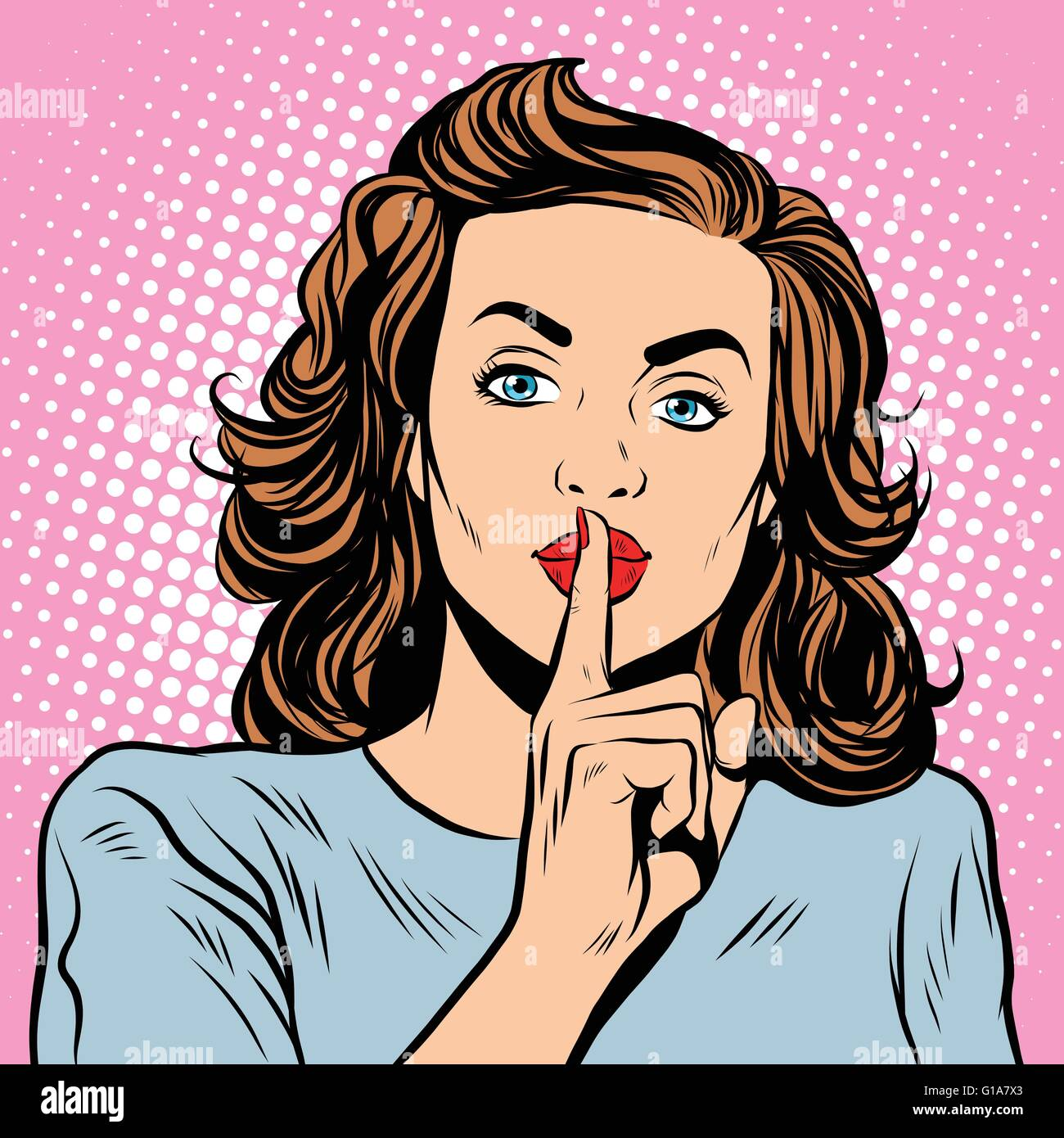 Female gesture of silence - Stock Vector