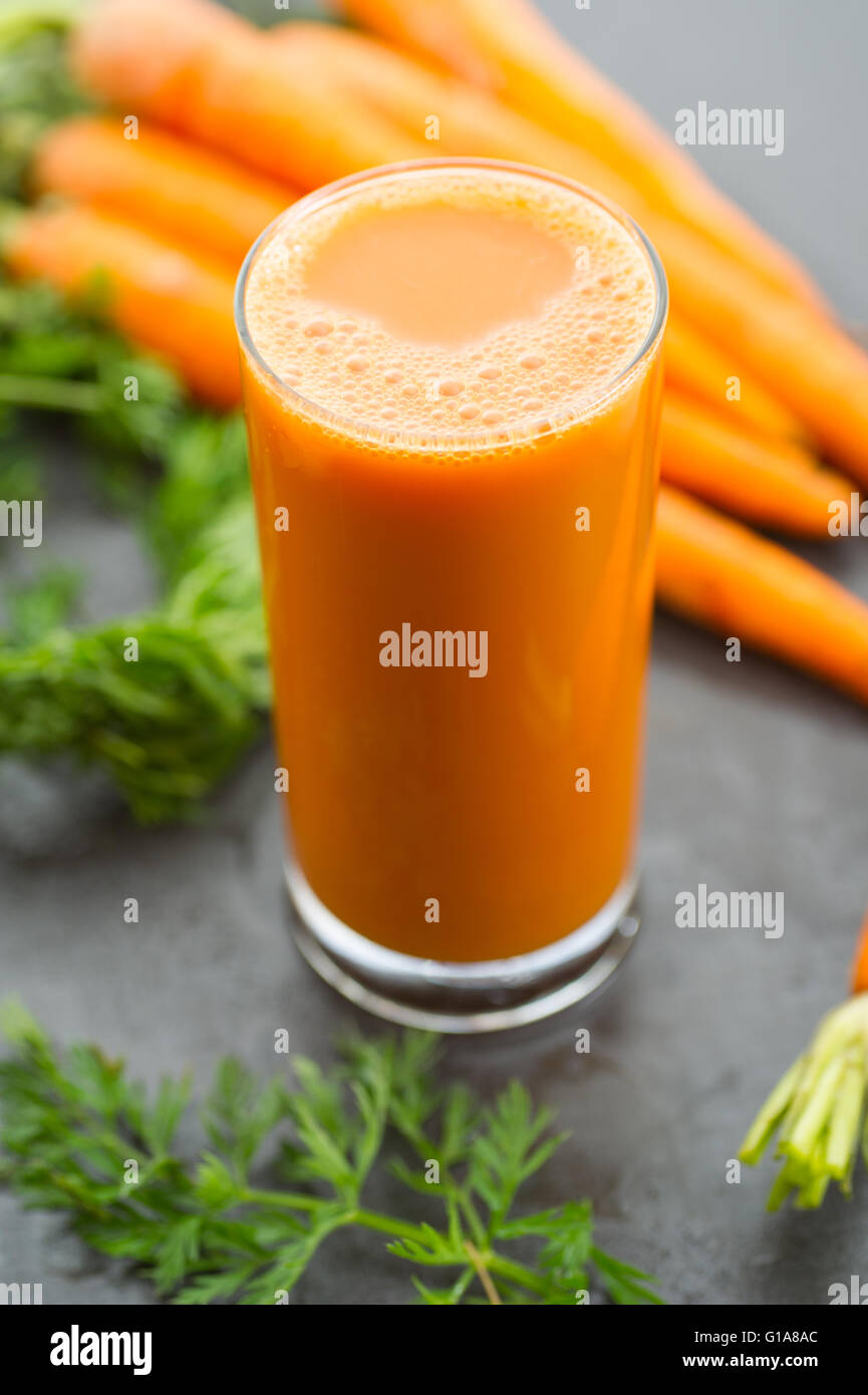 Fresh homemade organic carrot juice. - Stock Image