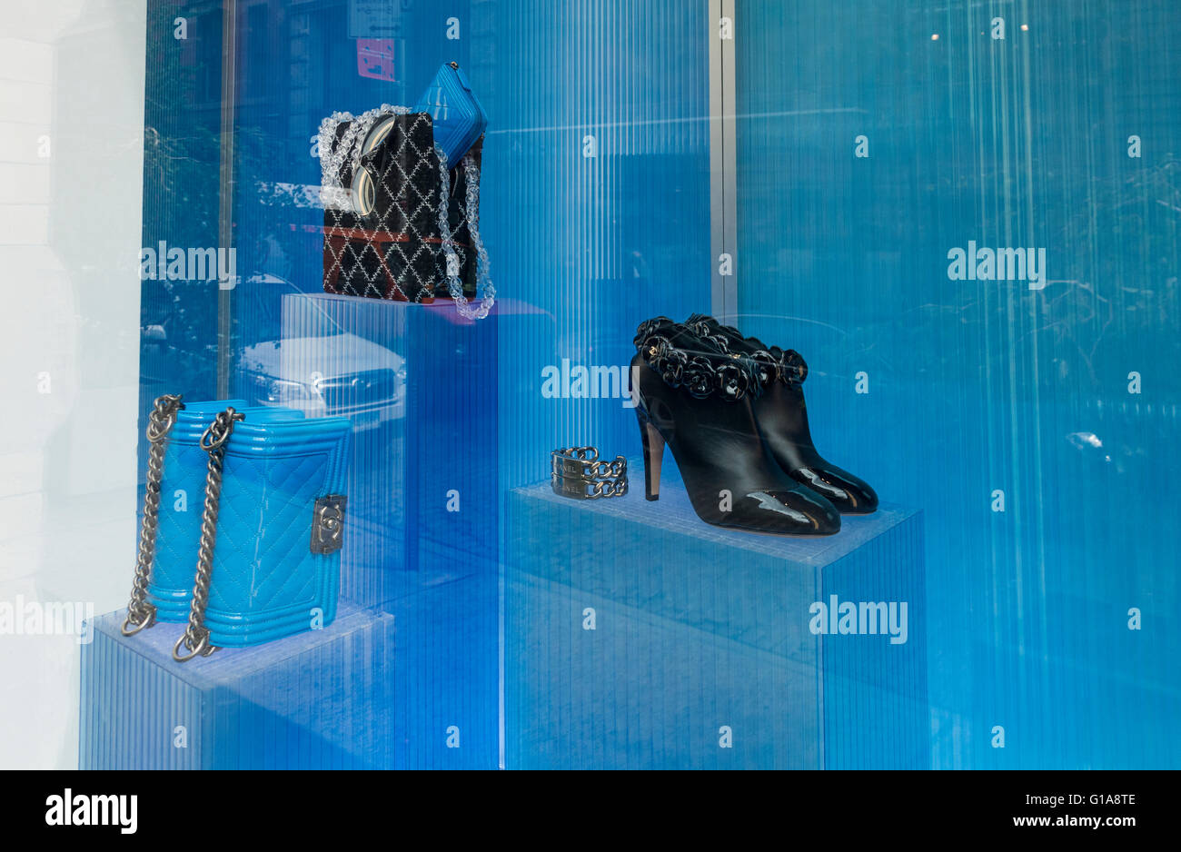 Upmarket items for sale at a chic boutique in New York City - Stock Image