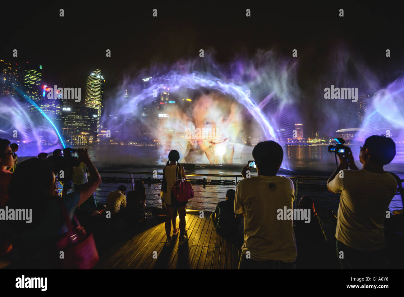 The Marina Bay light show in Singapore - Stock Image