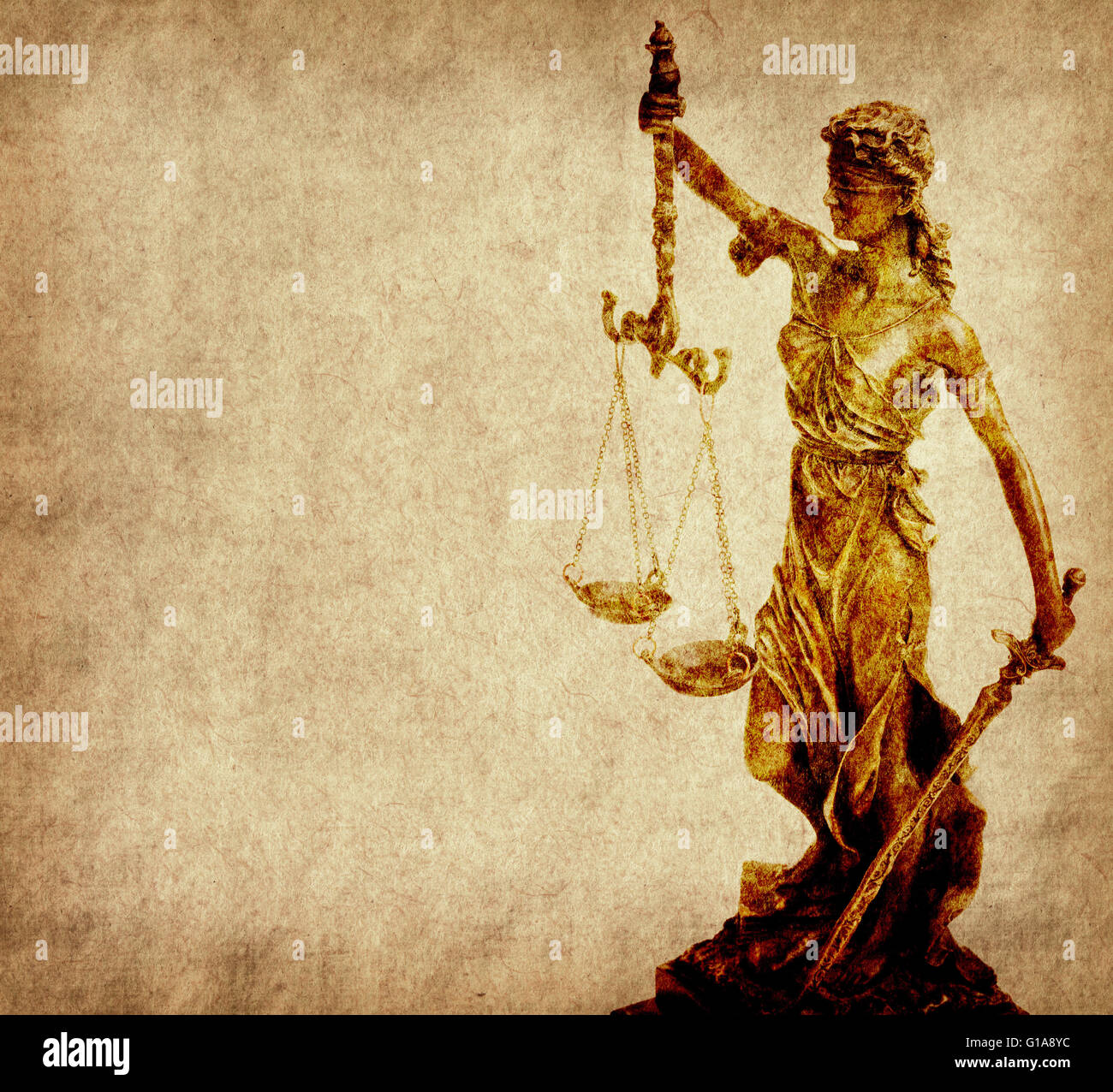 Statue of justice on old paper background, law concept - Stock Image