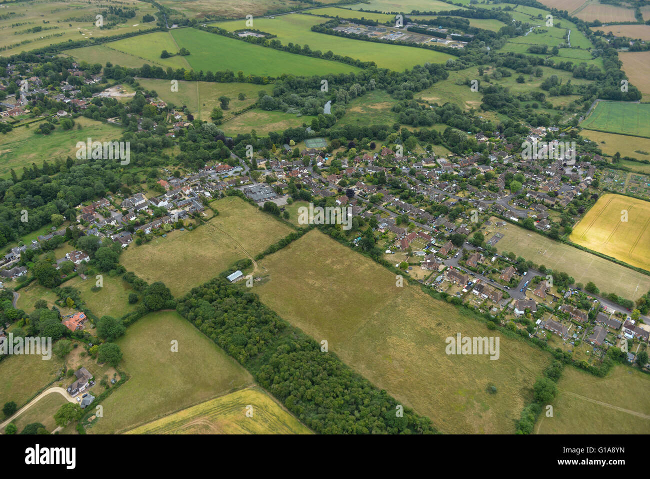 An aerial view of the Hampshire village of Goodworth Clatford - Stock Image
