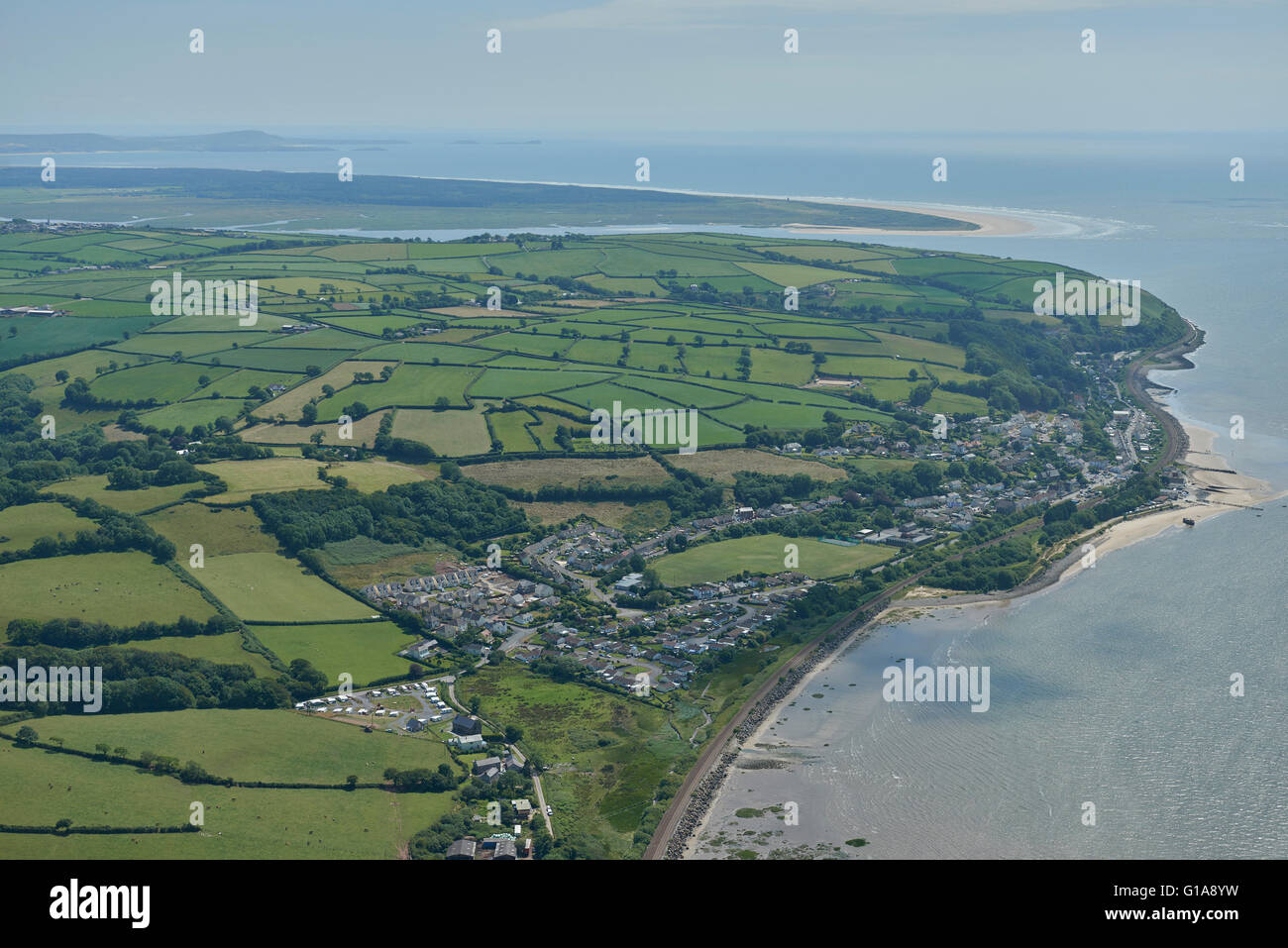 An aerial view of Ferryside, a village in Carmarthenshire, Wales - Stock Image