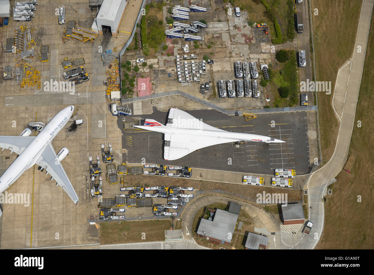 An aerial view of a Concorde at Heathrow Airport - Stock Image