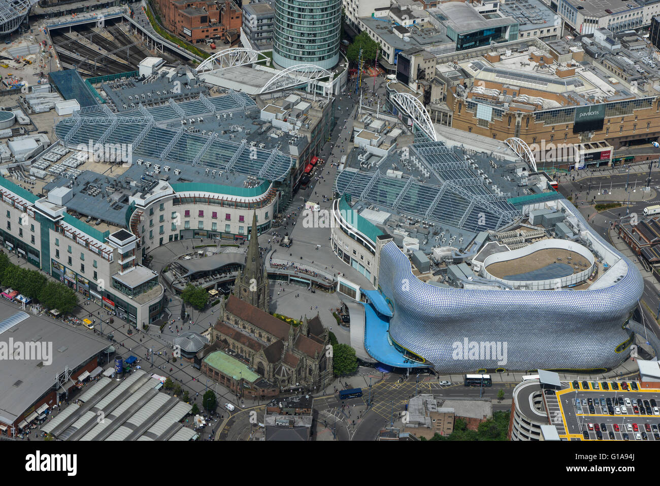 An aerial view of the Bull Ring shopping centre in Birmingham West