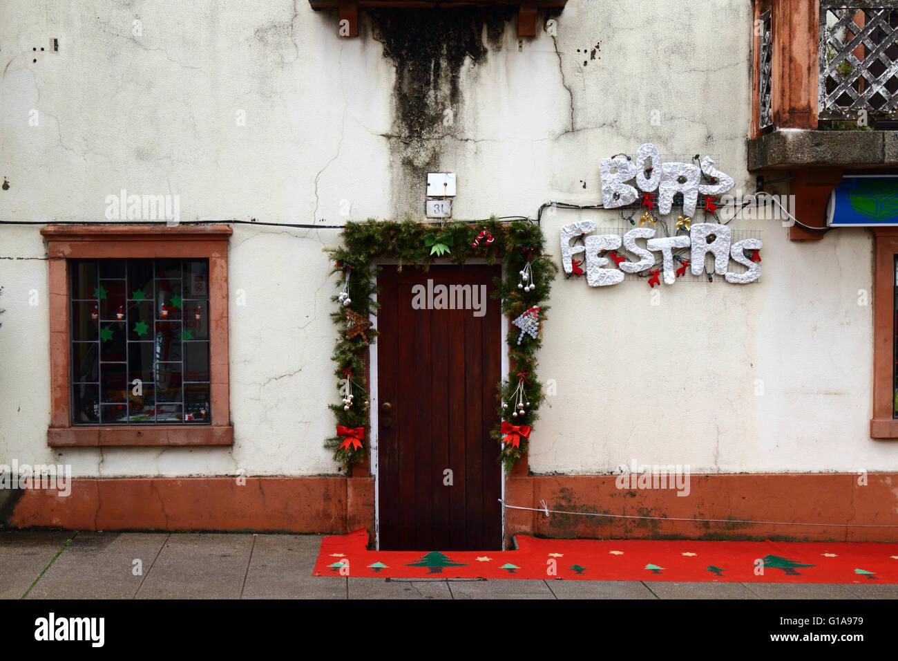 Boas Festas greeting and Christmas decorations outside house, Vila Praia de Ancora, Minho Province, northern Portugal Stock Photo