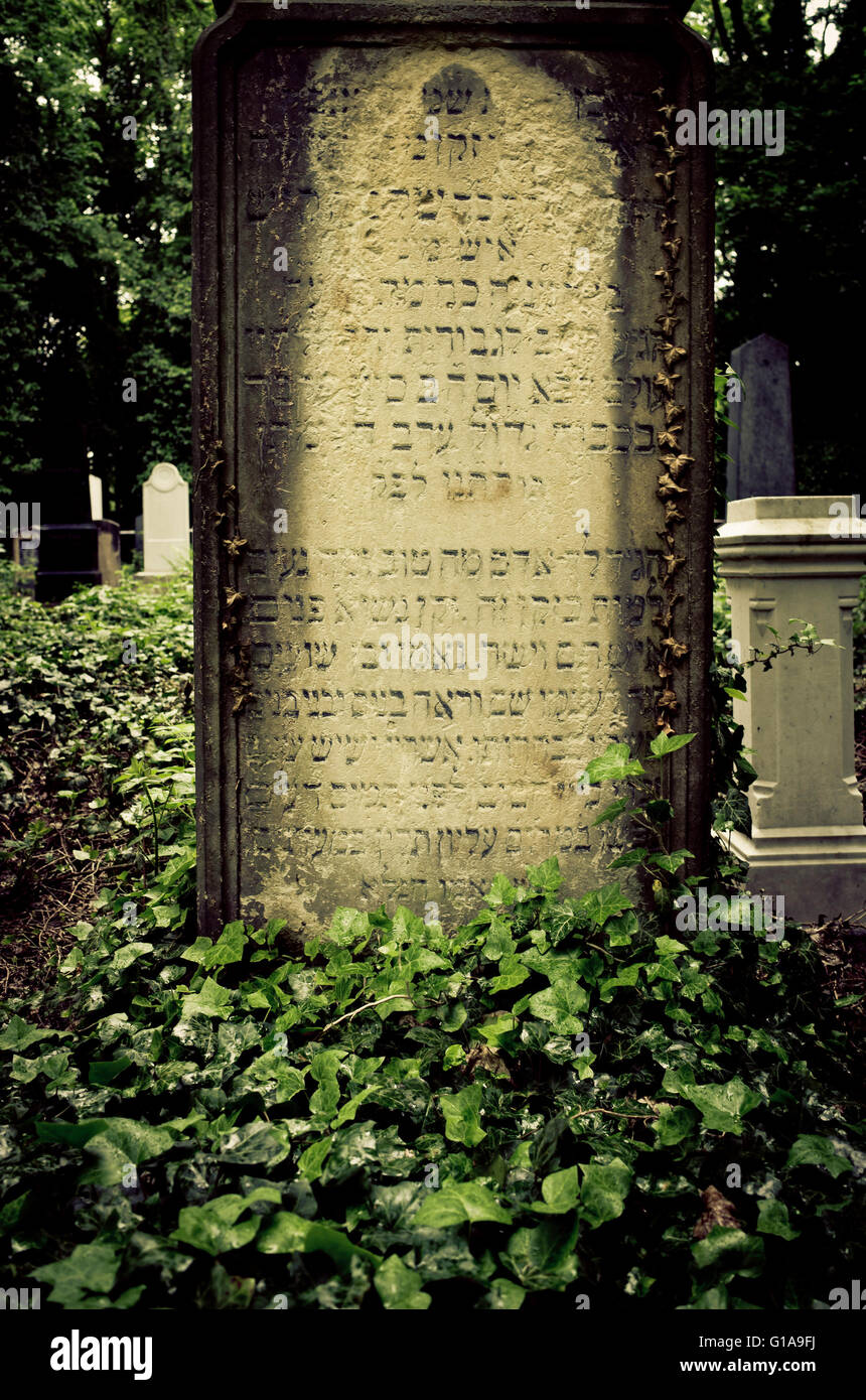 Jewish inscriptions on an old tomb - Stock Image