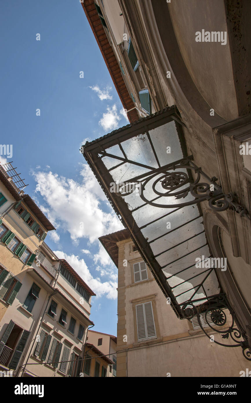 glass portico theater exterior Florence Italy - Stock Image