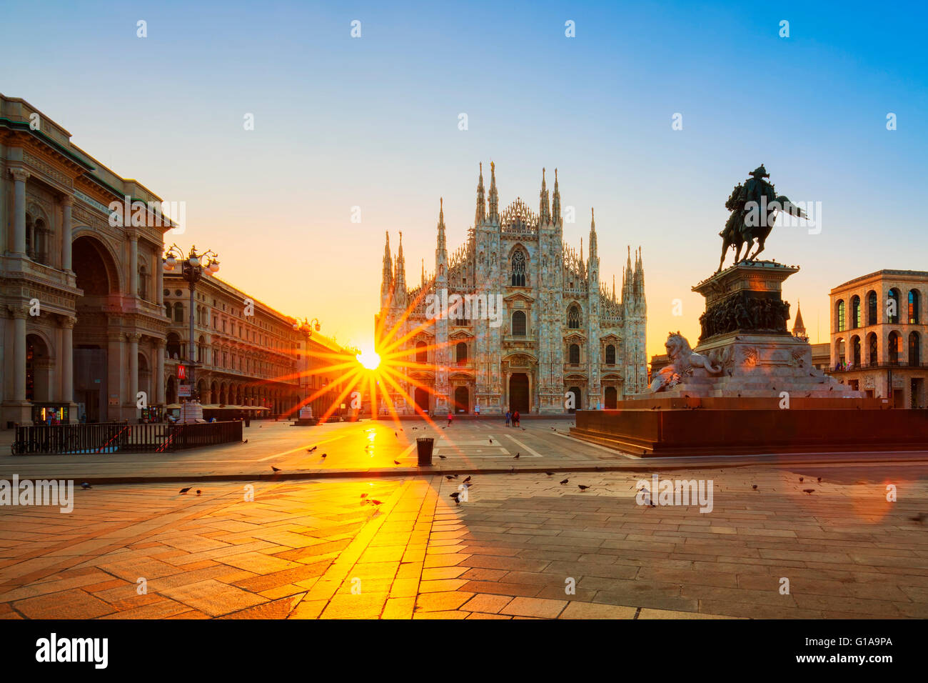 View of Duomo at sunrise, Milan, Italy. - Stock Image