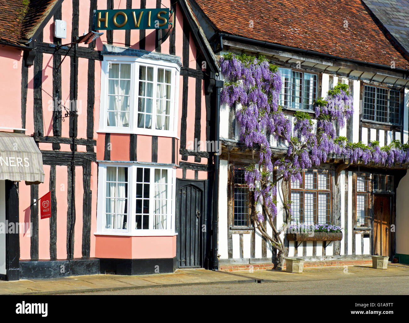 Half-timbered houses in the village of Lavenham, Suffolk, England UK - Stock Image