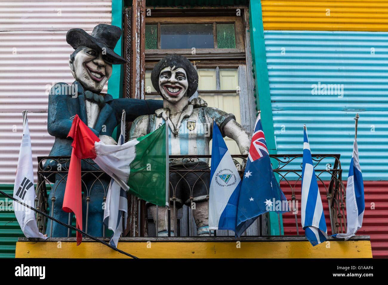 Diego Maradona, Brightly painted houses in Caminito, La Boca, Buenos Aires, Argentina - Stock Image