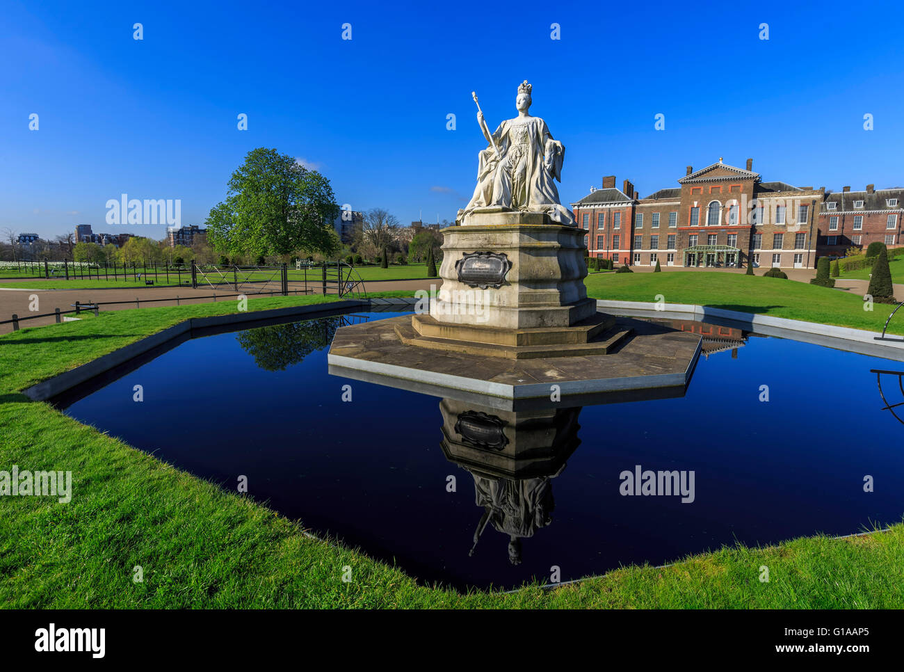 Beautiful Queen Victoria Statue around Hyde Park, London, United Kingdom - Stock Image