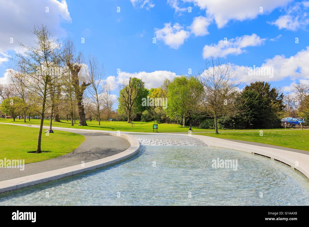 Princess Diana Memorial Fountain at Hyde Park, London, United Kingdom - Stock Image