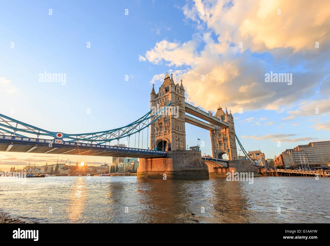The famous Tower Bridge at London, United Kingdom - Stock Image