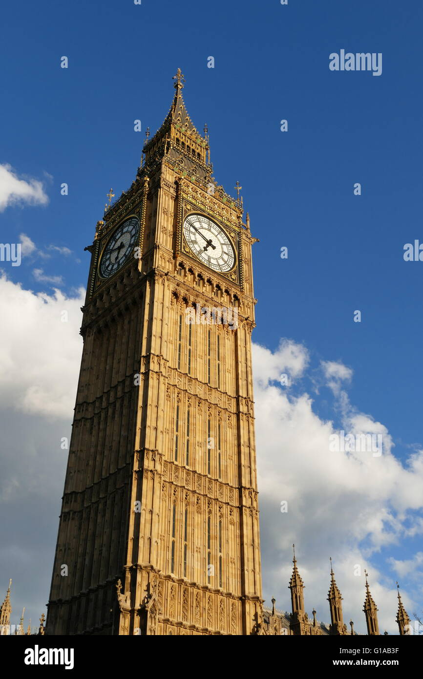 The famous Big Ben, clock tower of London - Stock Image