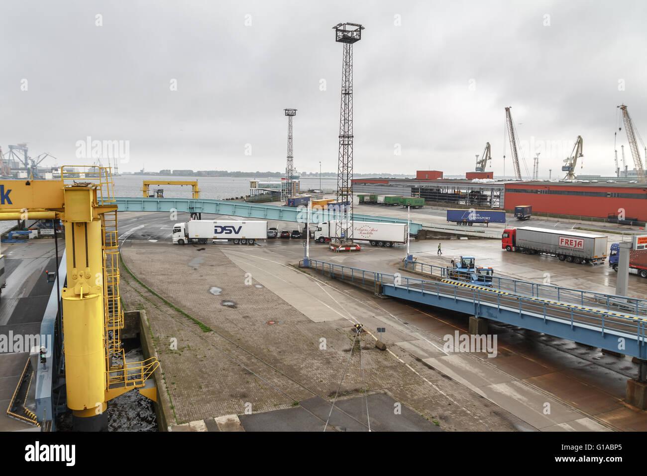 Rostok port, Germany, the trucks embark on ferry-boat - Stock Image