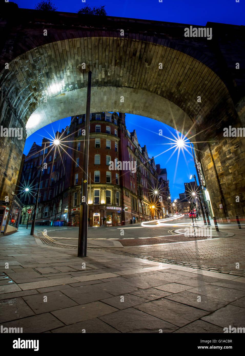 Dean Street at night, Newcastle upon Tyne. - Stock Image