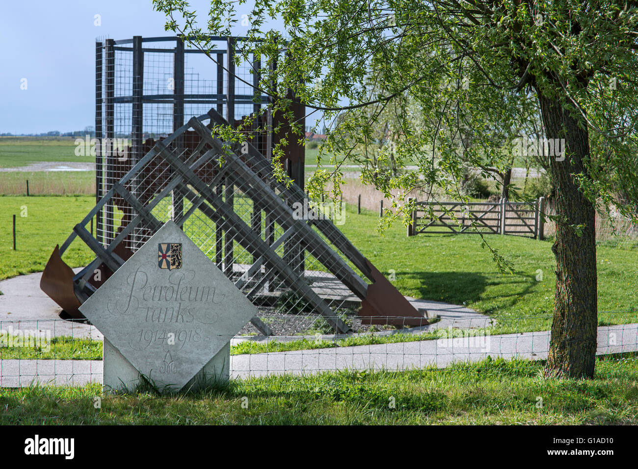 Albertina memorial in front of reconstruction of the Petrol Tanks close to WWI Trench of Death, Diksmuide, Flanders, - Stock Image