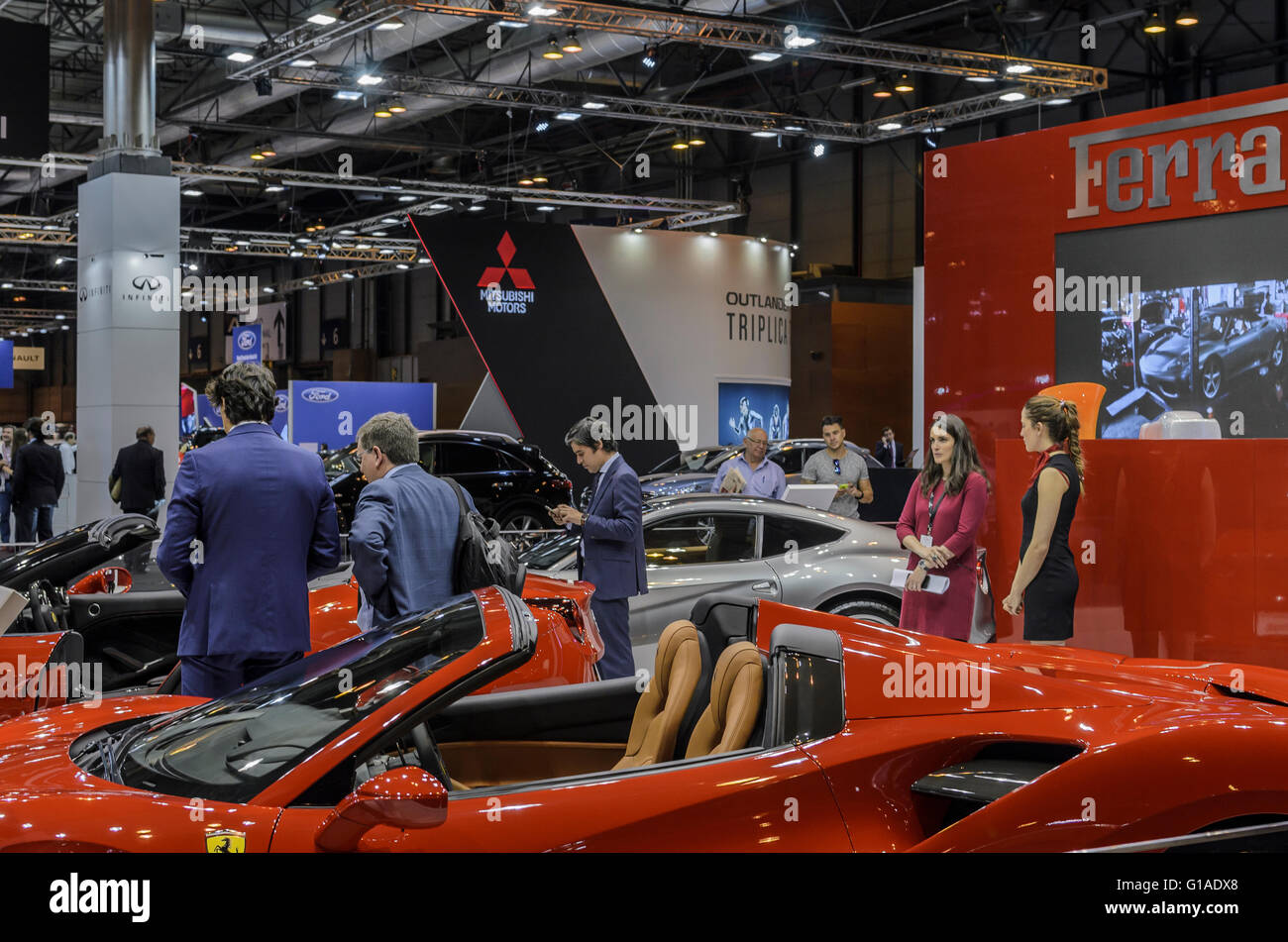 Madrid, Spain, 10 th May 2016. An Italian car rear view in the Inauguration of Automobile Exhibition. Enrique Davó/Alamy - Stock Image