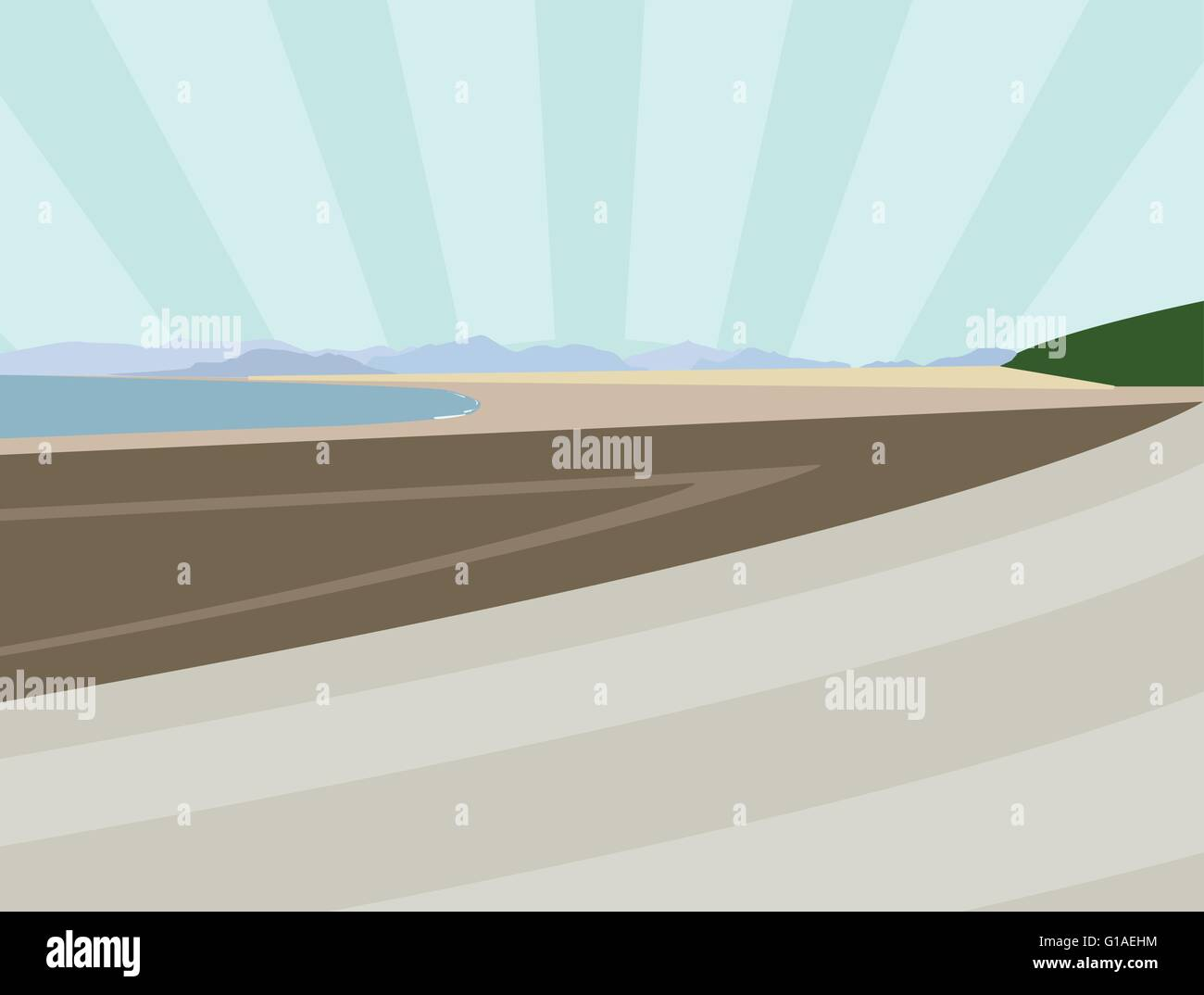 A vector illustration of a beach in North Wales - Stock Vector