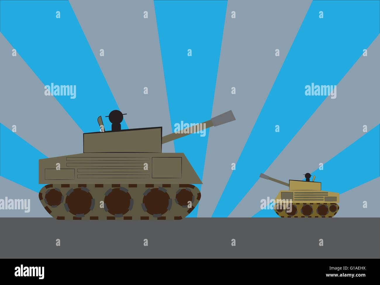 Two tanks facing each other, big and powerful vs small and vulnerable - Stock Vector