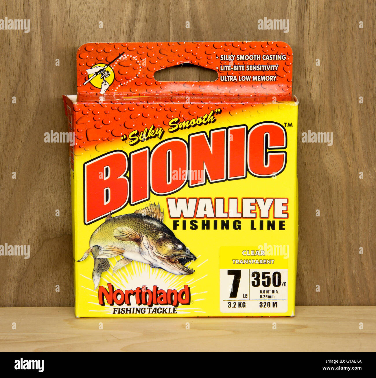 Spencer, Wisconsin, May, 10, 2016   Box of Bionic Walleye Fishing Line  Bionic is a product of Northland Fishing - Stock Image