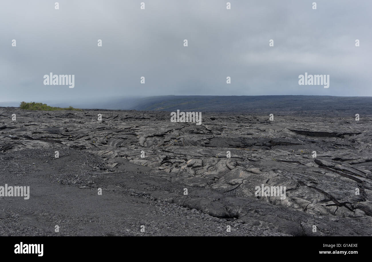 A large lava field on the big island of Hawaii on it's eastern side of the island. - Stock Image