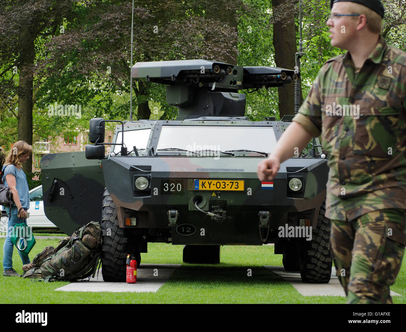 Dutch army armored vehicle, equipped with stinger rocket launcher system, Valkenberg park, Breda, the Netherlands. - Stock Image