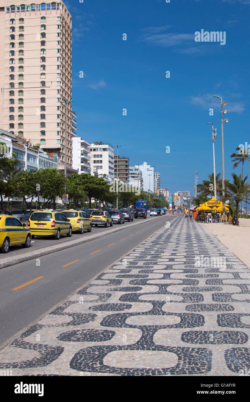 Ipanema sidewalk in Rio de Janeiro, Brazil - Stock Image