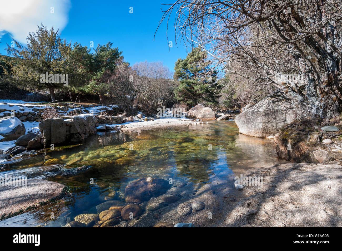 The River Manzanares along its course through La Pedriza, in Guadarrama Mountains National Park, Madrid, Spain Stock Photo