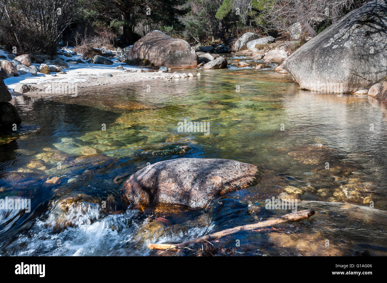 The River Manzanares along its course through La Pedriza, in Guadarrama Mountains National Park, Madrid, Spain Stock Photo