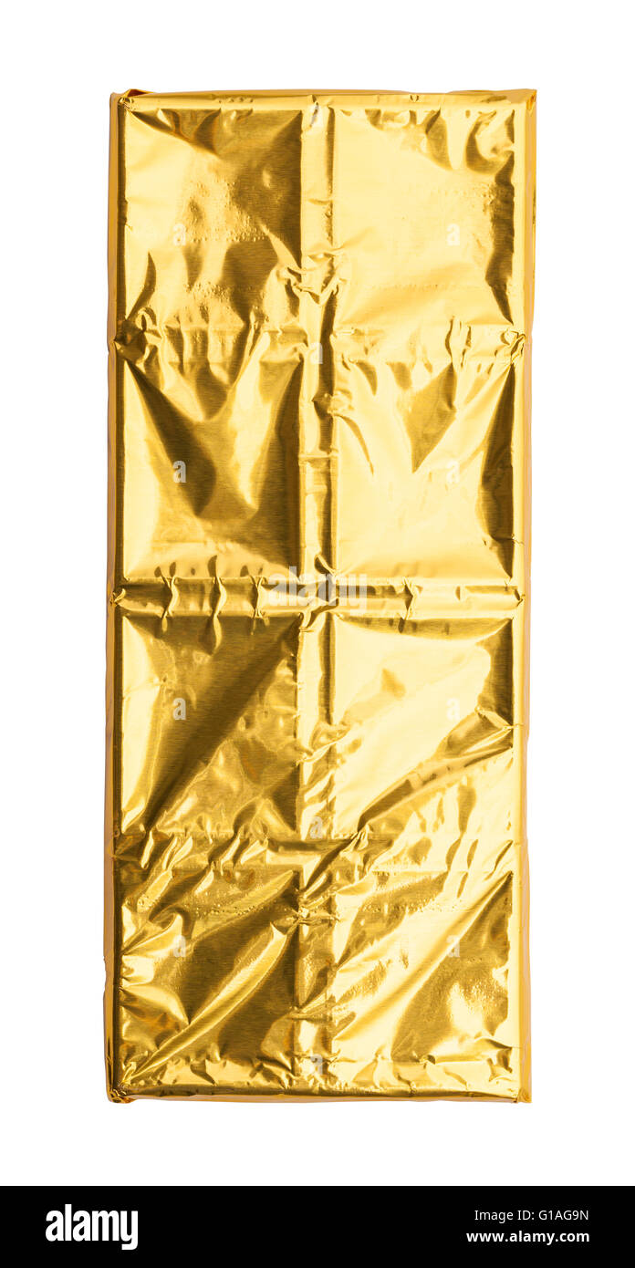 Chocolate Bar with Gold Foil Isolated on White Background. - Stock Image