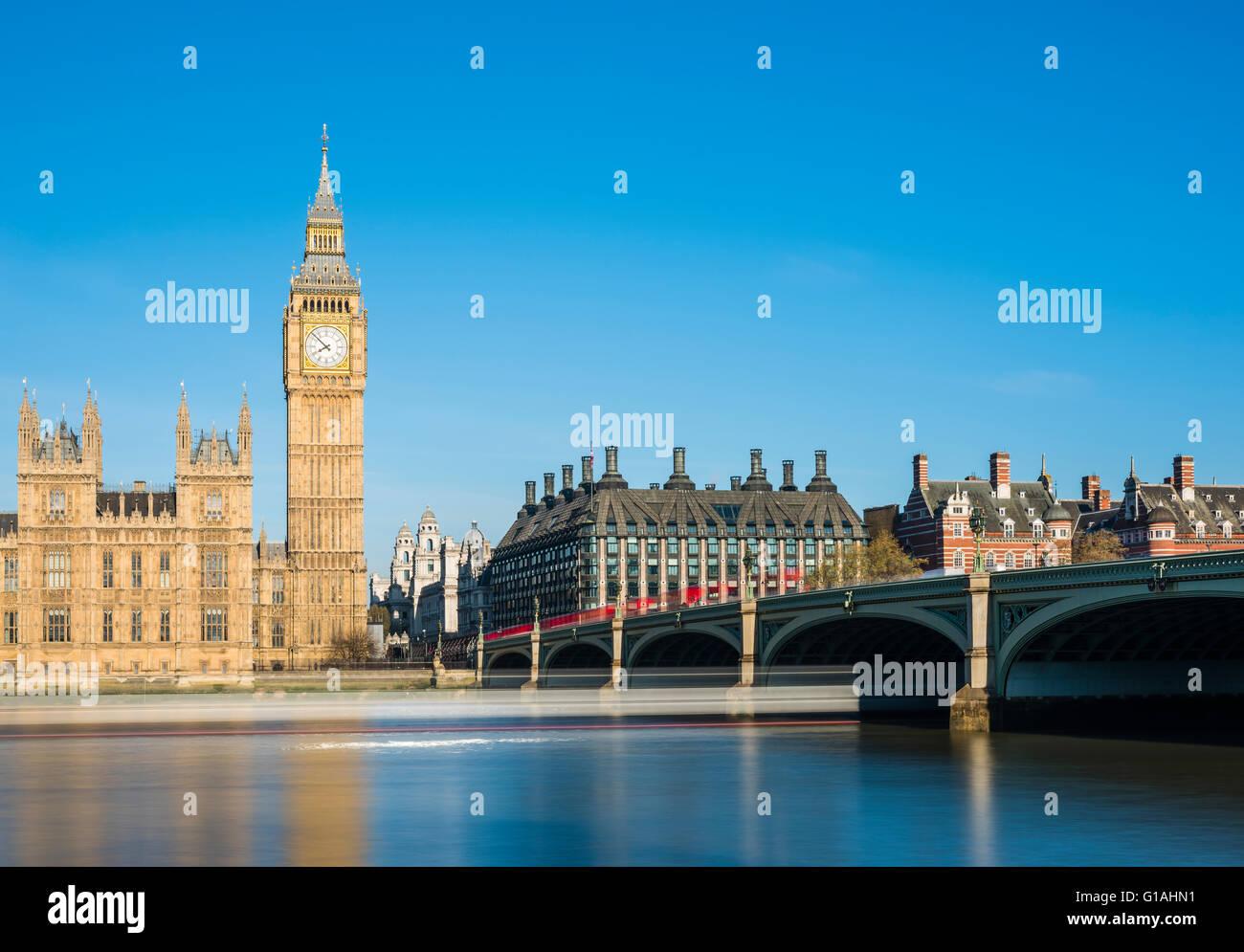 Long exposure of Westminster Bridge on a sunny spring morning, London, UK. - Stock Image