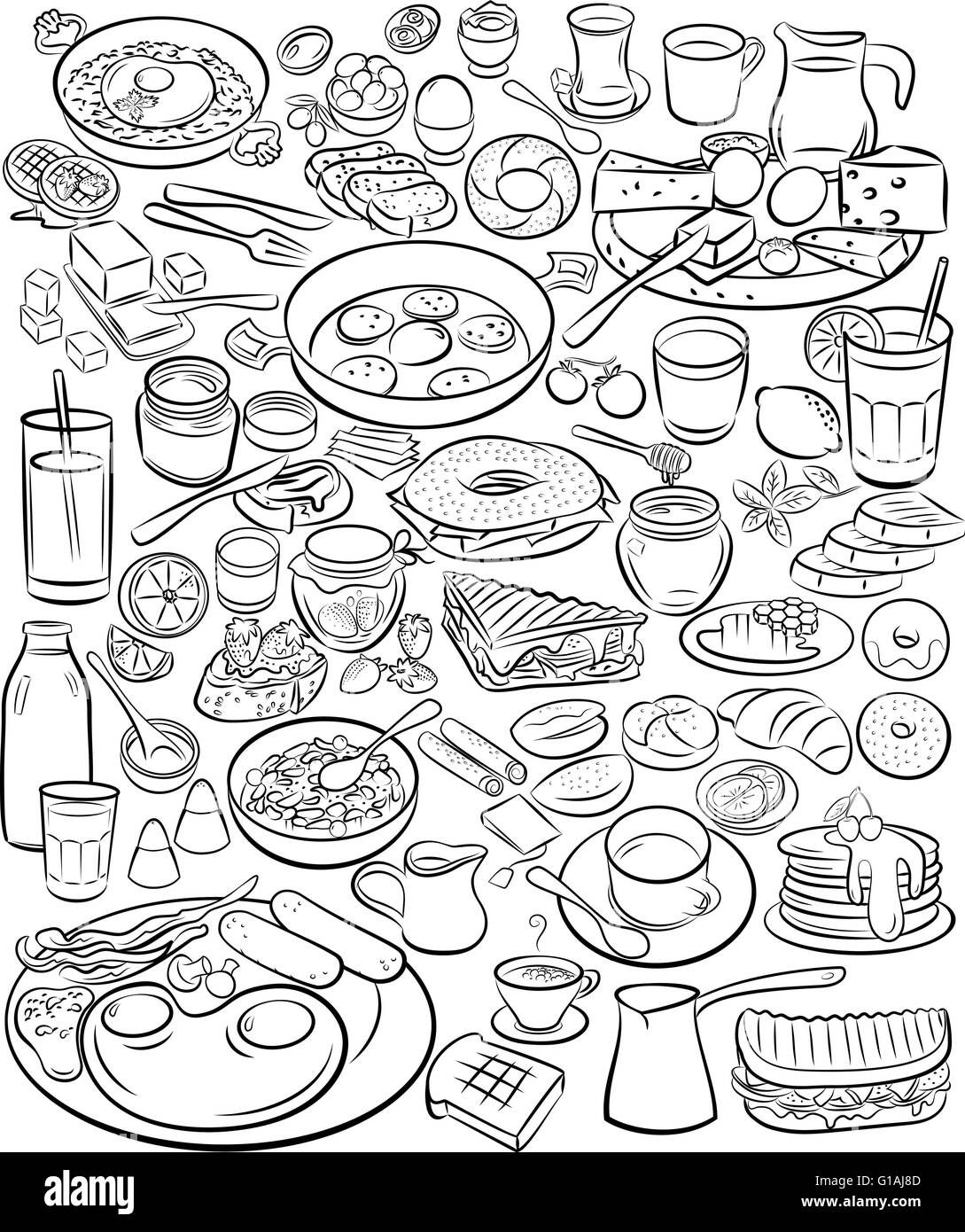 Vector illustration of breakfast collection in line art mode - Stock Image