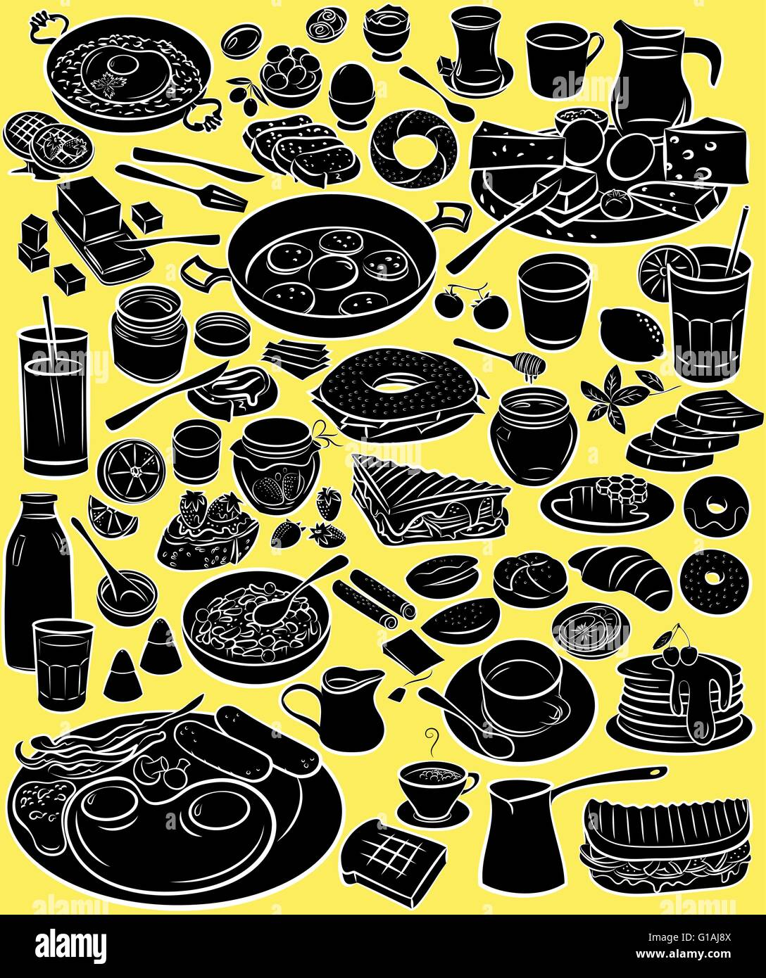 Vector illustration of breakfast collection in silhouette mode on yellow background - Stock Vector