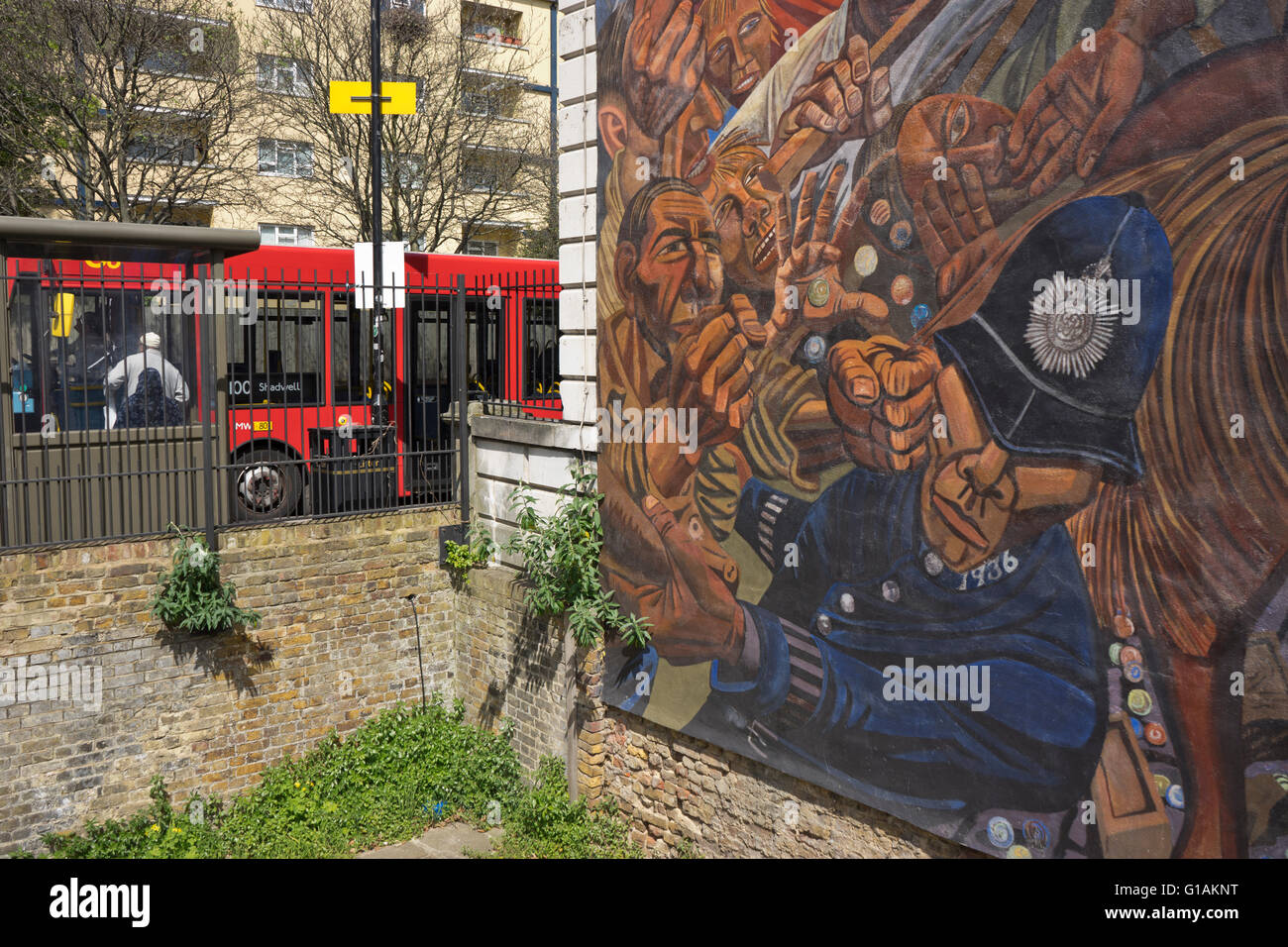 The Battle of Cable Street mural in east London, UK - Stock Image