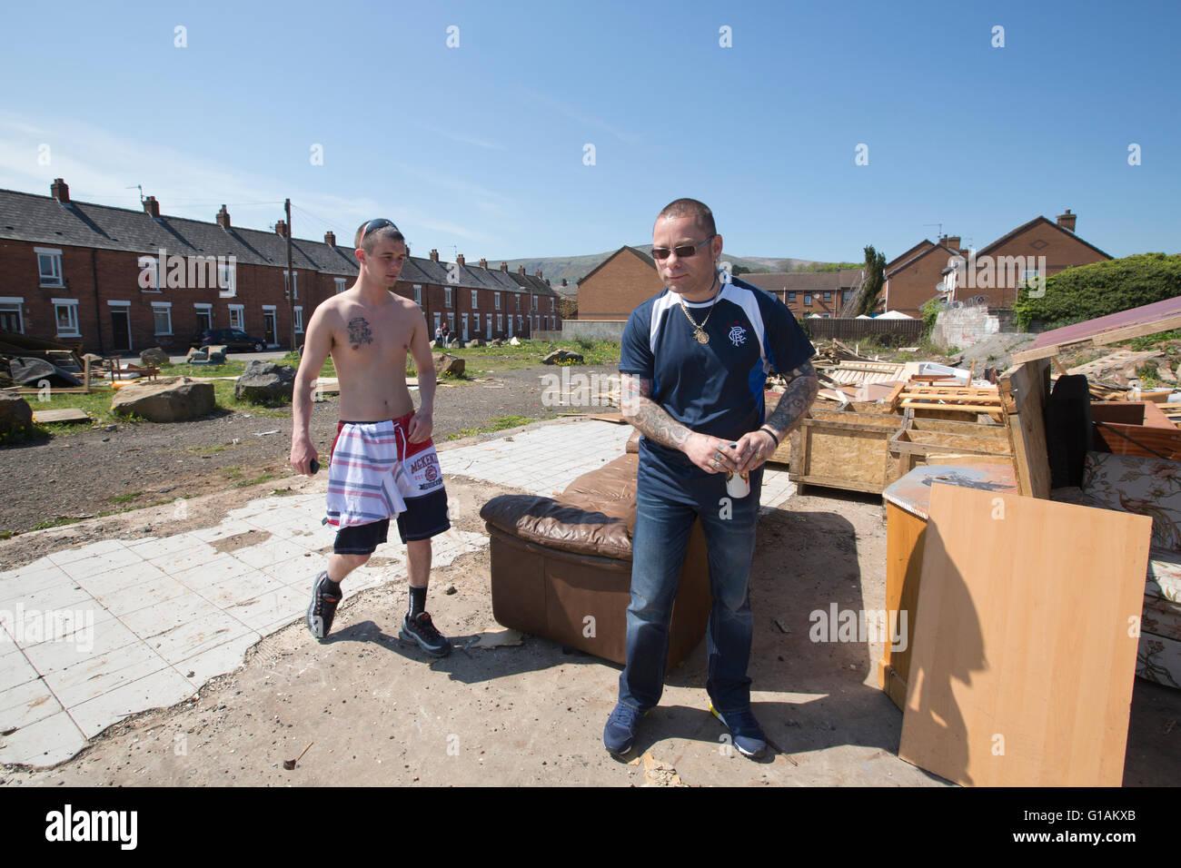Protestant community on Shankill Road area of Belfast, Northern Ireland, UK - Stock Image