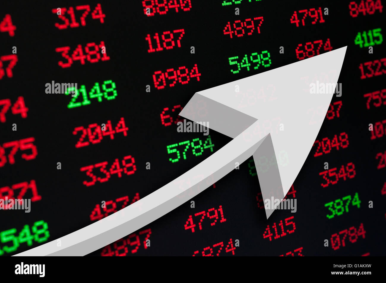 Stock Market - An Arrow on Background of Red and Green Figures - Stock Image