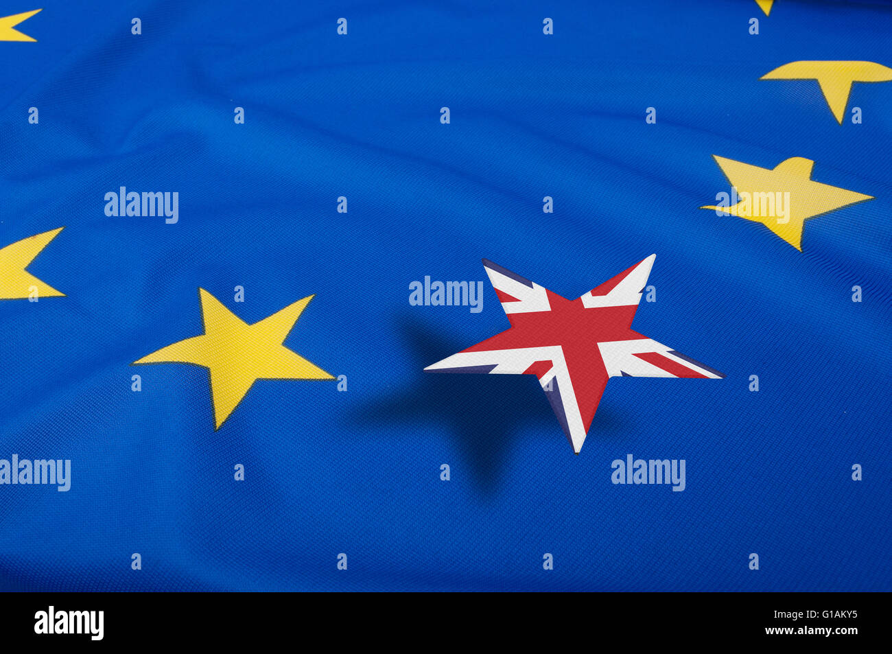 Brexit - European Union Flag Drapery With Great Britain Leaving - Stock Image