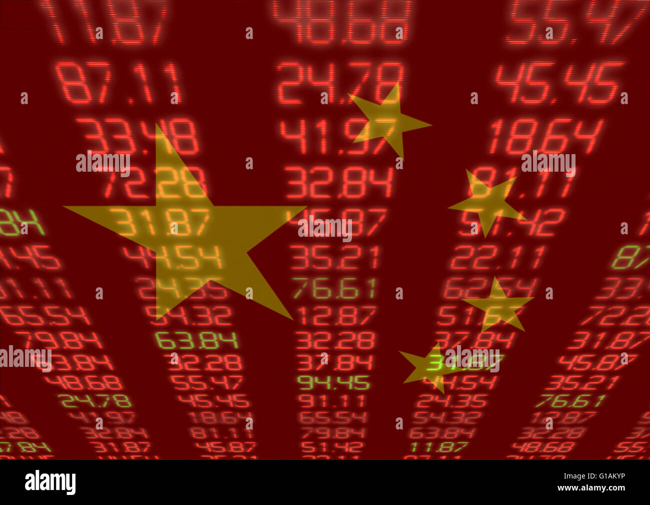 Chinese Stock Market - Red and Green Figures with Chinese flag - Stock Image