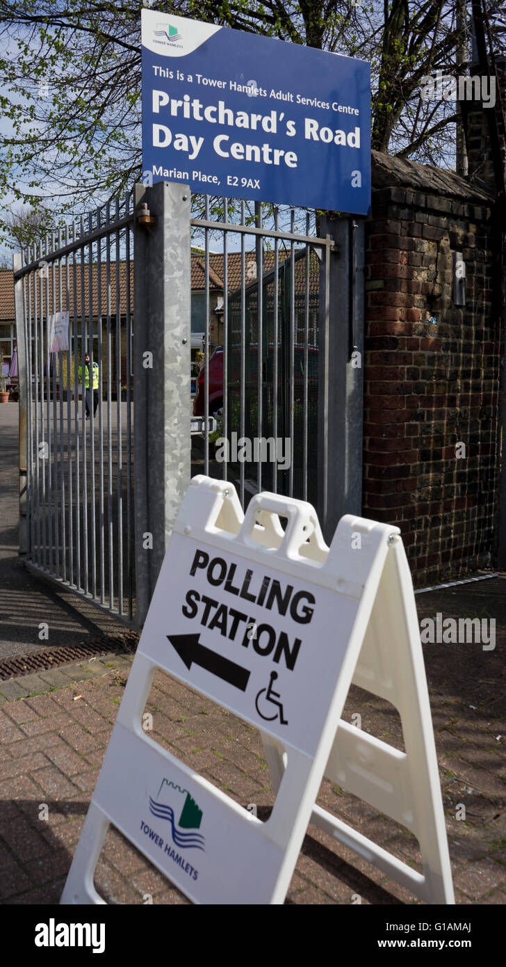 Polling station during mayoral elections in London, UK - Stock Image