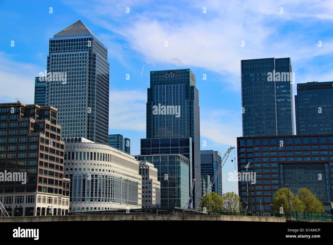 Canary wharf Thompson Reuters office London England Modern office buildings - Stock Image