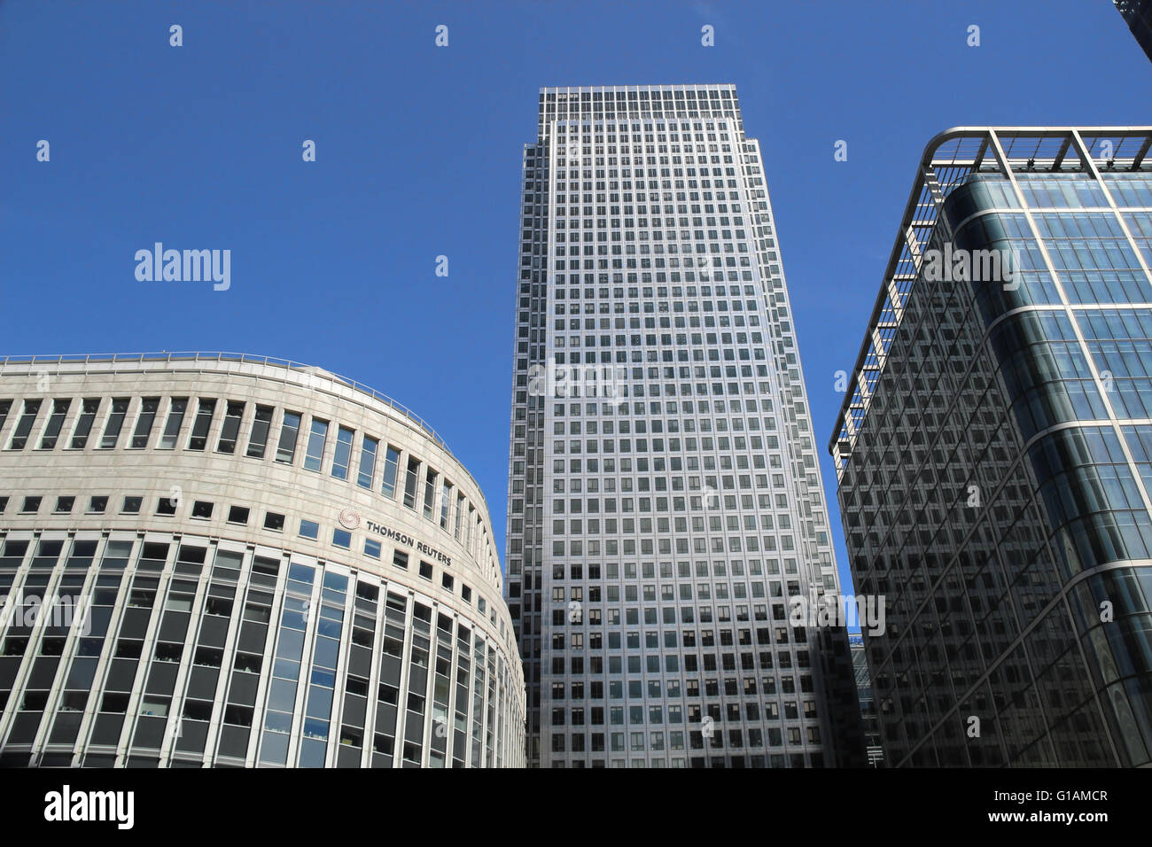 Canary wharf Thompson Reuters office London England Modern office buildings Stock Photo