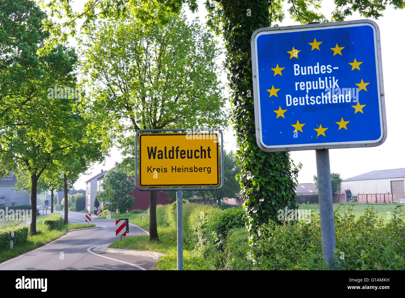 Sign at the border of The Netherlands and Germany near the village Waldfeucht - Stock Image