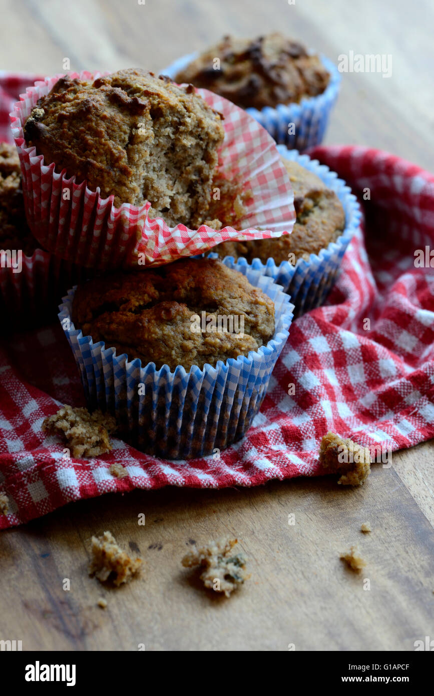 Banana, Pecan and Pumpkin Seeds Muffins made gluten free, dairy free and refined sugar free. - Stock Image