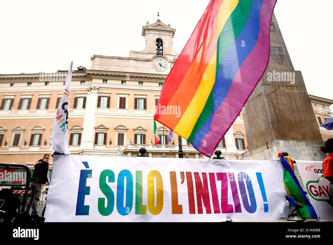 Rome, Italy. 11th May, 2016. Banner This is only the beginning Rome 11th May 2016. Demonstration for Civil Rights - Stock Image
