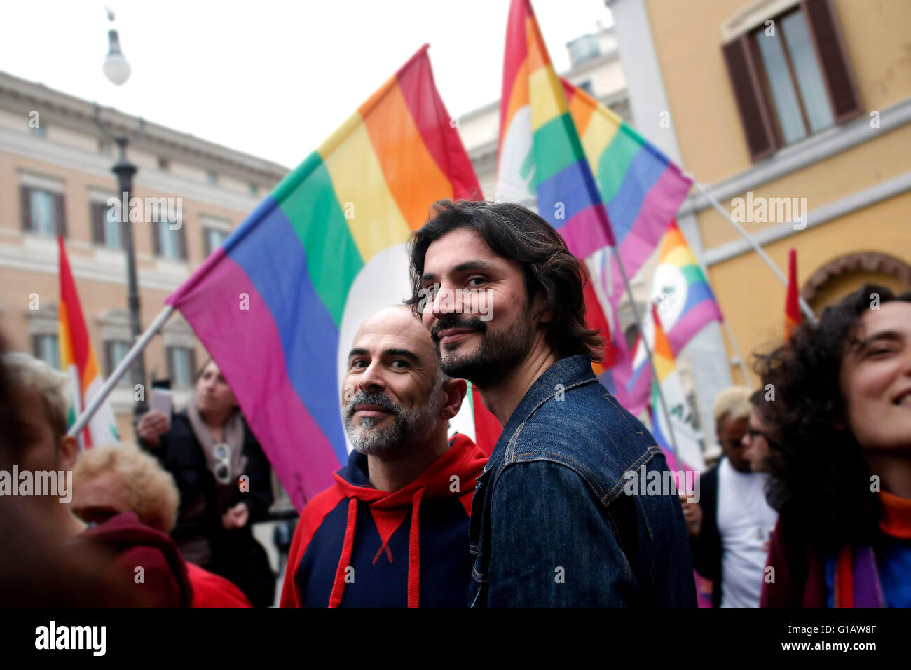 Rome, Italy. 11th May, 2016. Rome 11th May 2016. Demonstration for Civil Rights while at the Lower Chamber takes - Stock Image