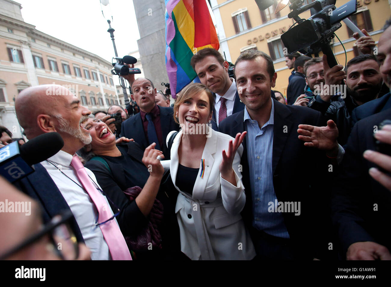 Rome, Italy. 11th May, 2016. Maria Elena Boschi Rome 11th May 2016. Demonstration for Civil Rights while at the - Stock Image